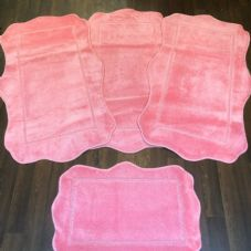 ROMANY WASHABLES NEW GYPSY 4PC SET NEW DESIGN PINK MATS NON SLIP 67X110CM XX